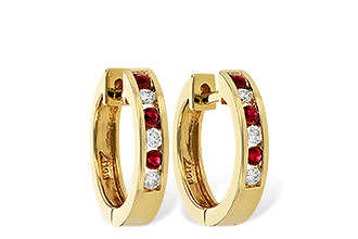 B028-93643: EARRINGS .16 RUBY .26 TGW